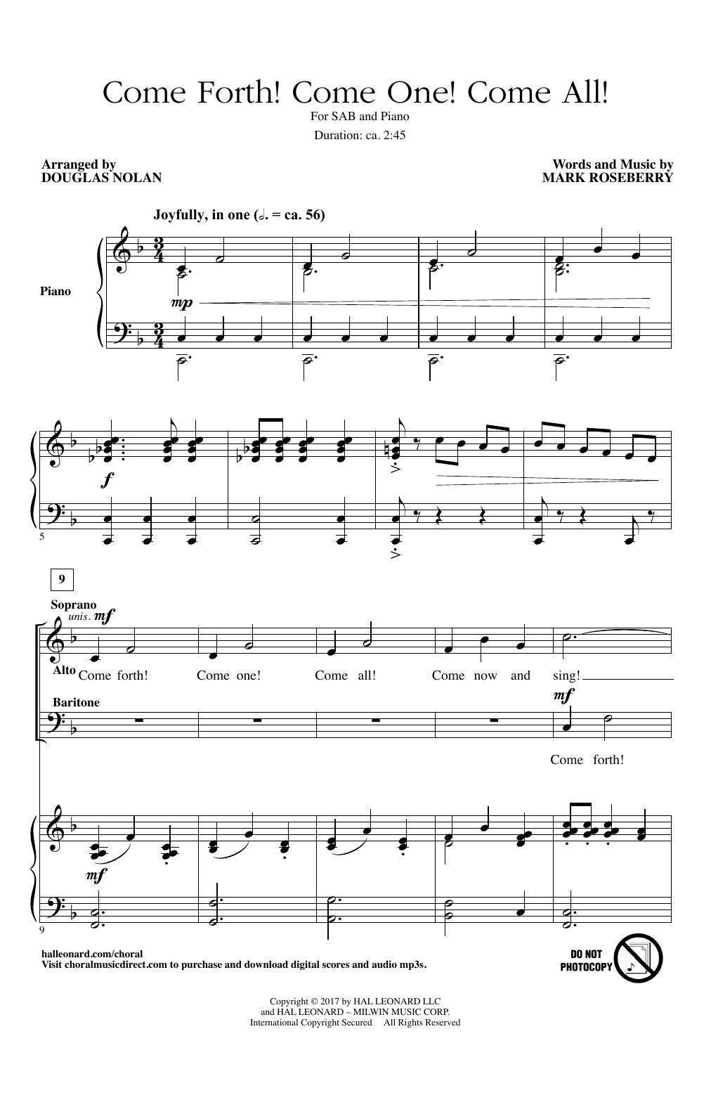 Partition chorale Come Forth! Come One! Come All! de Douglas Nolan - SAB