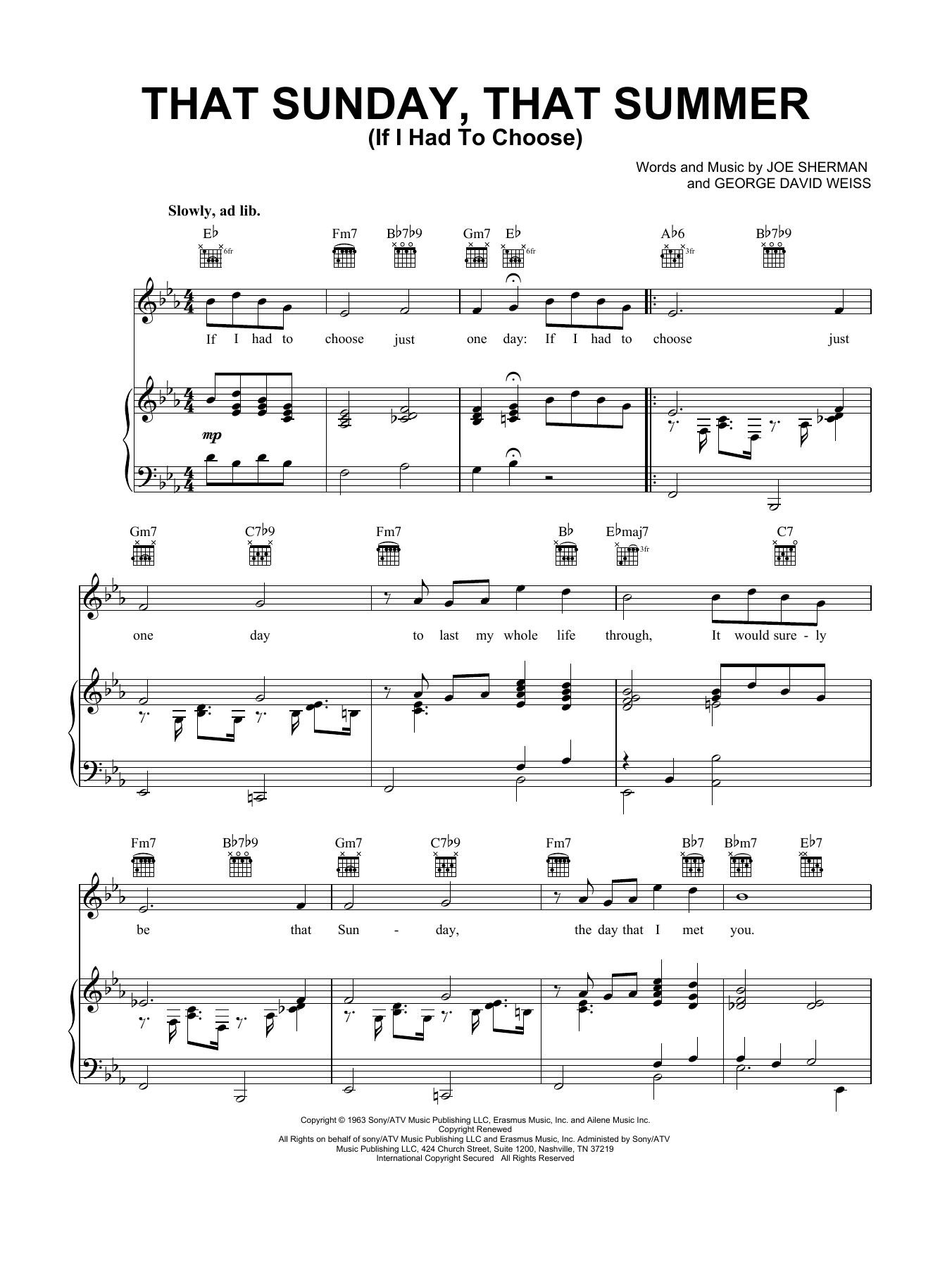 That Sunday That Summer (If I Had To Choose) (Piano, Vocal & Guitar (Right-Hand Melody))