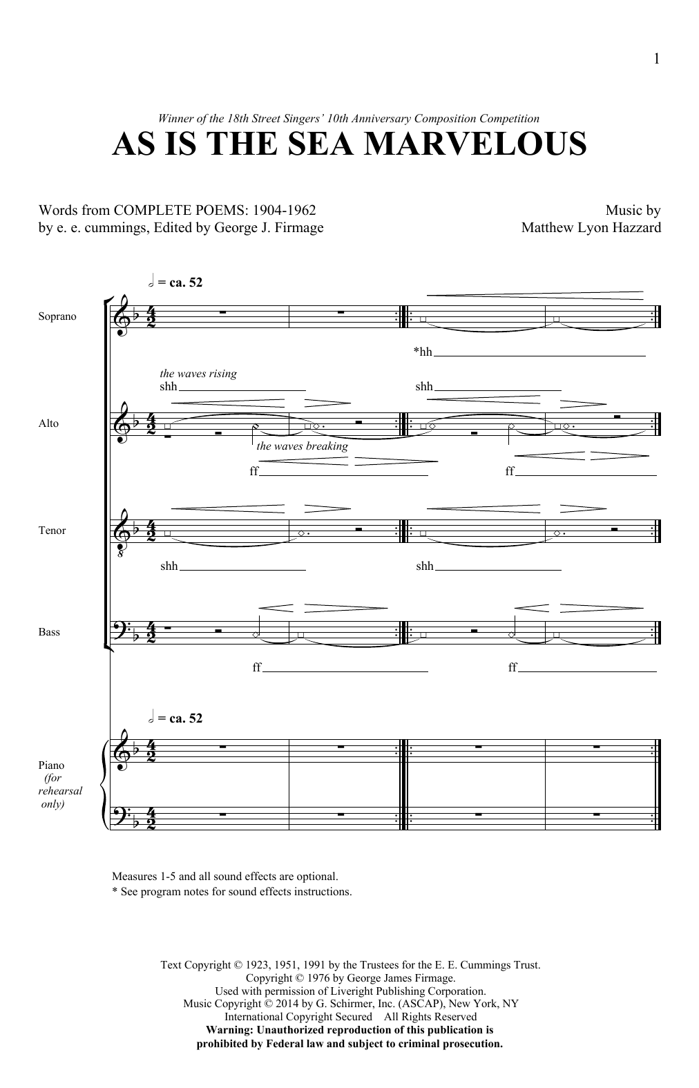 As Is The Sea Marvelous Sheet Music