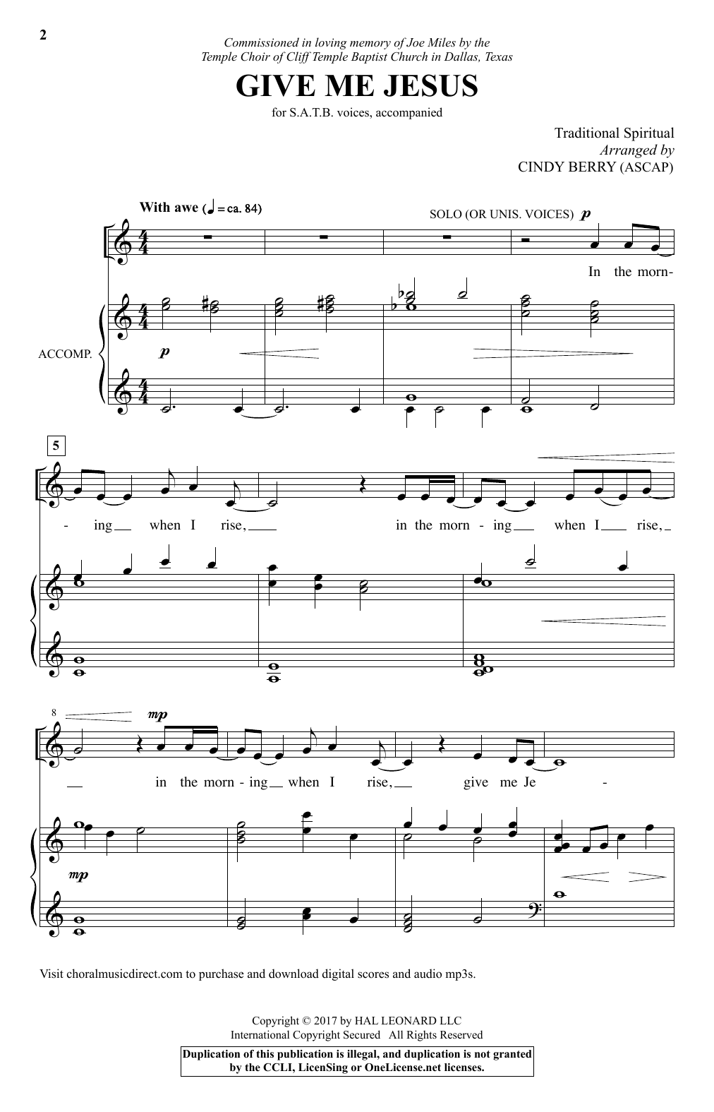 Give Me Jesus (SATB Choir)
