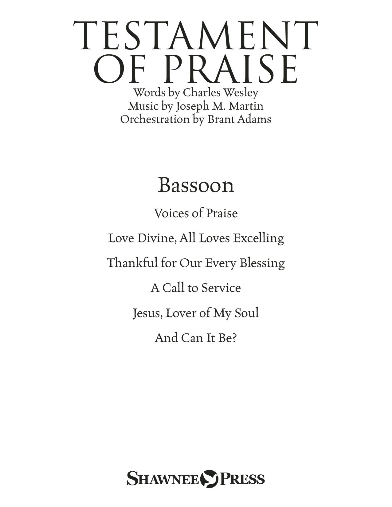 Testament of Praise (A Celebration of Faith) - Bassoon Sheet Music