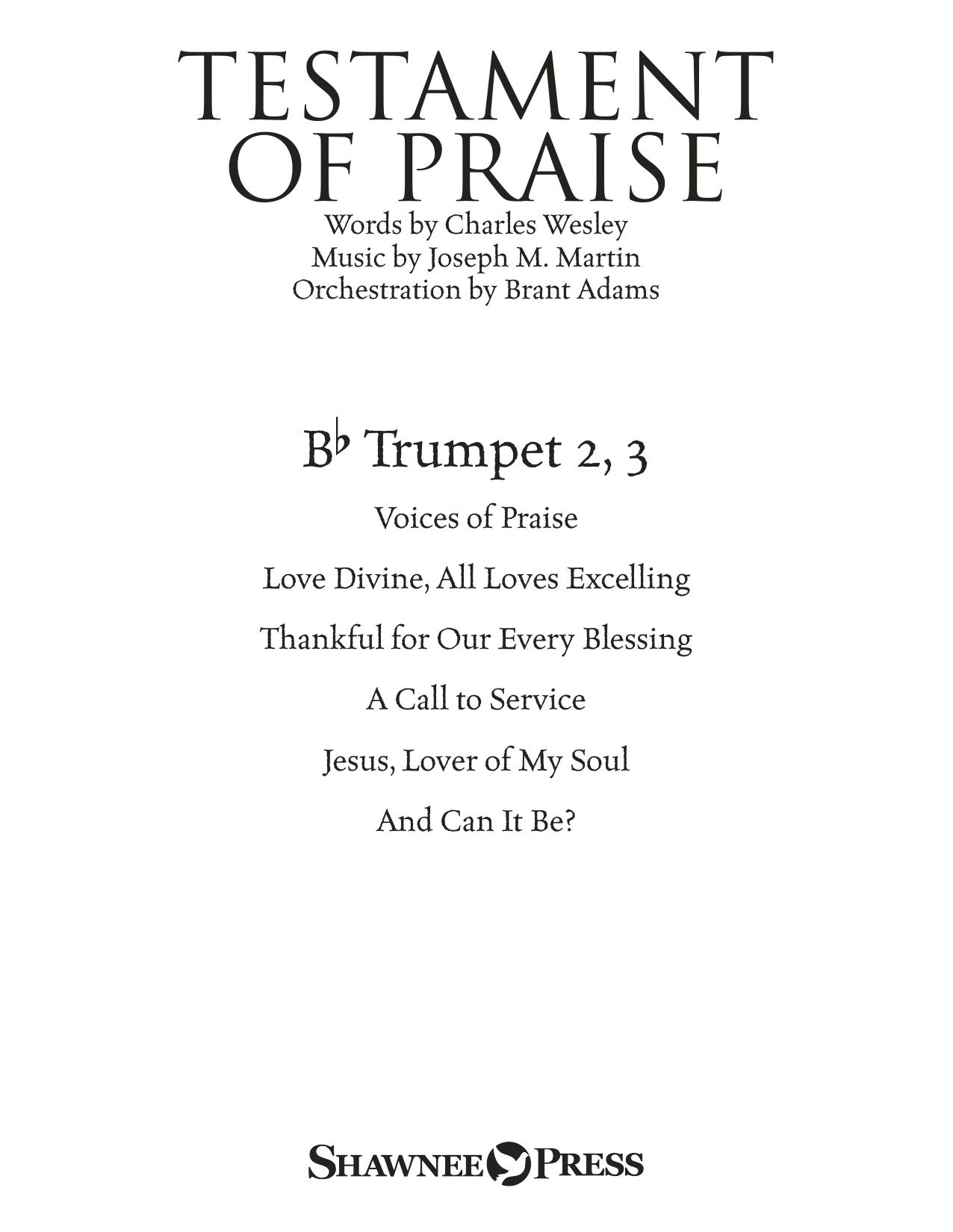 Testament of Praise (A Celebration of Faith) - Bb Trumpet 2,3 Sheet Music