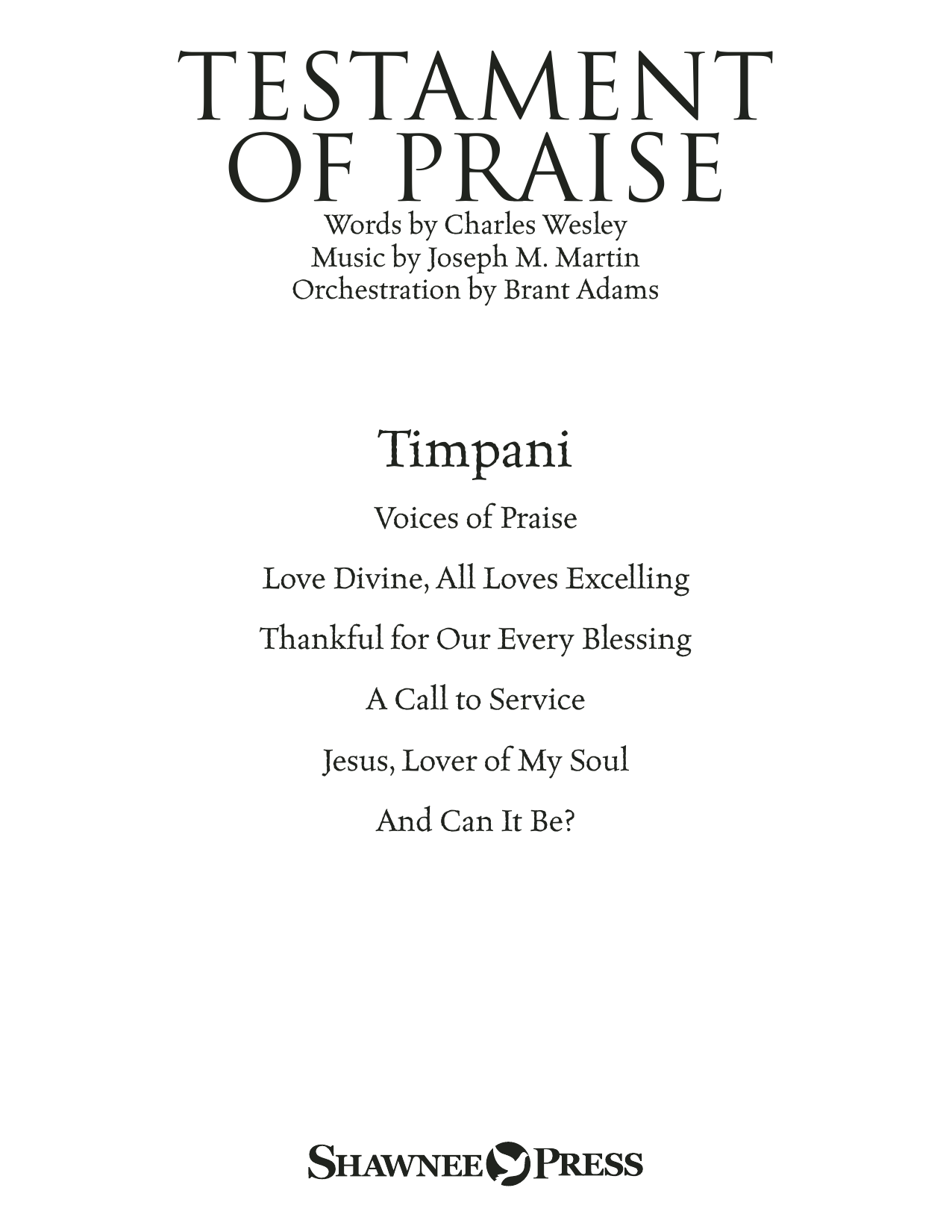Testament of Praise (A Celebration of Faith) - Timpani Sheet Music