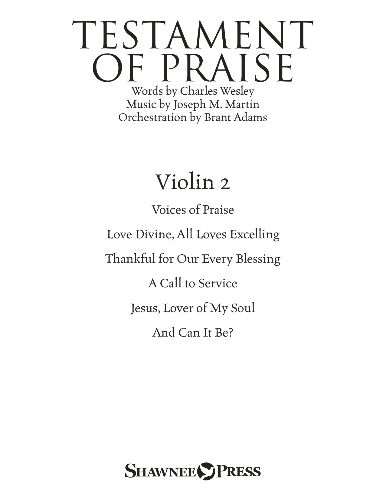 Testament of Praise (A Celebration of Faith) - Violin 2 (Choir Instrumental Pak)