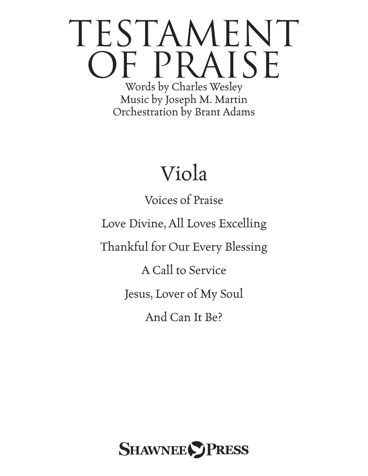 Testament of Praise (A Celebration of Faith) - Viola (Choir Instrumental Pak)