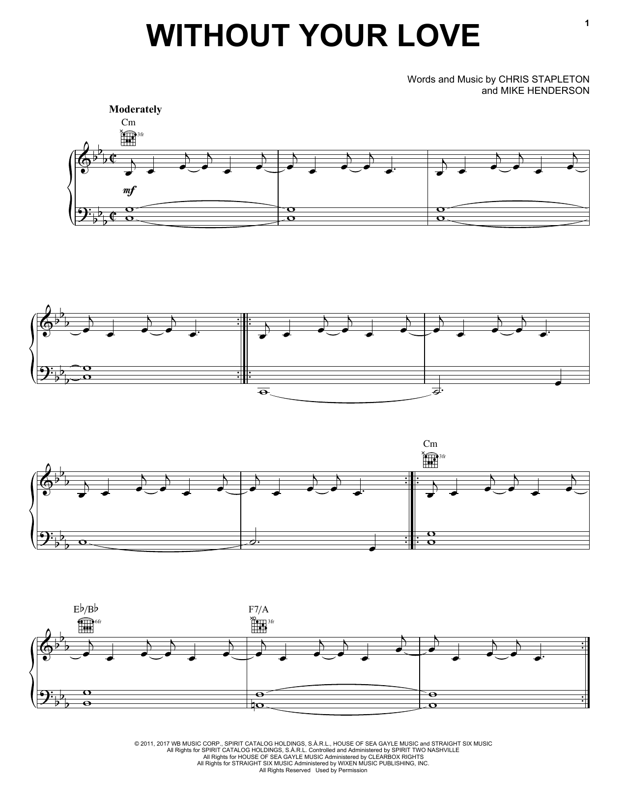 Without Your Love (Piano, Vocal & Guitar (Right-Hand Melody))