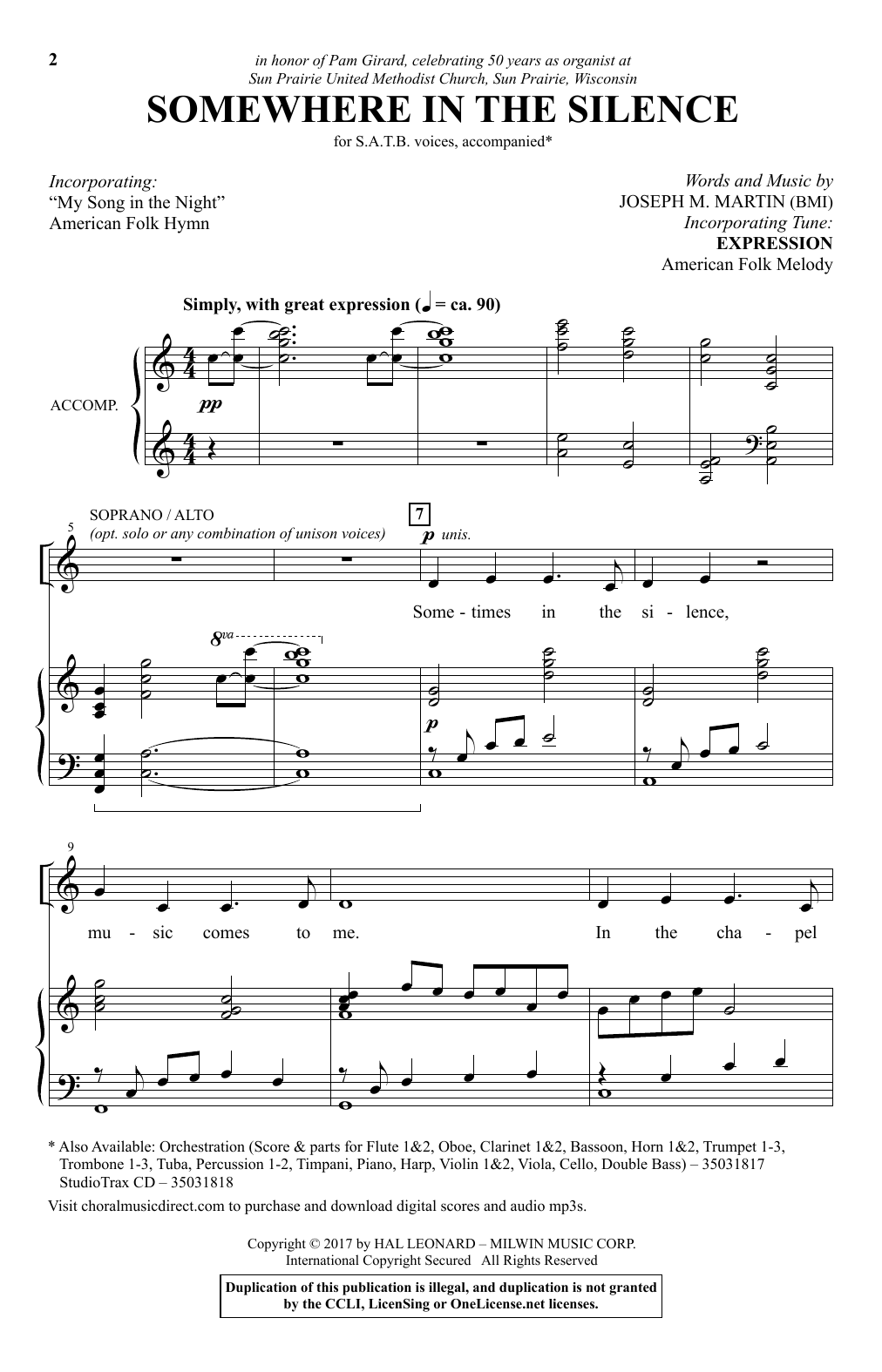Somewhere In The Silence Sheet Music