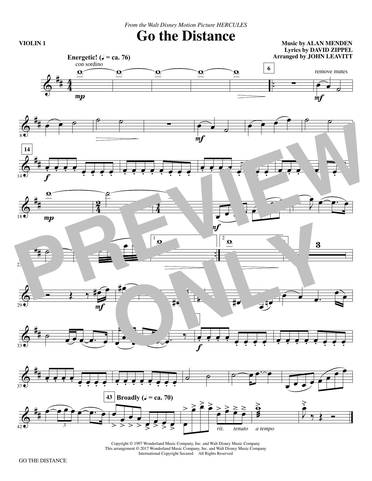 Go the Distance - Violin 1 (Choir Instrumental Pak)