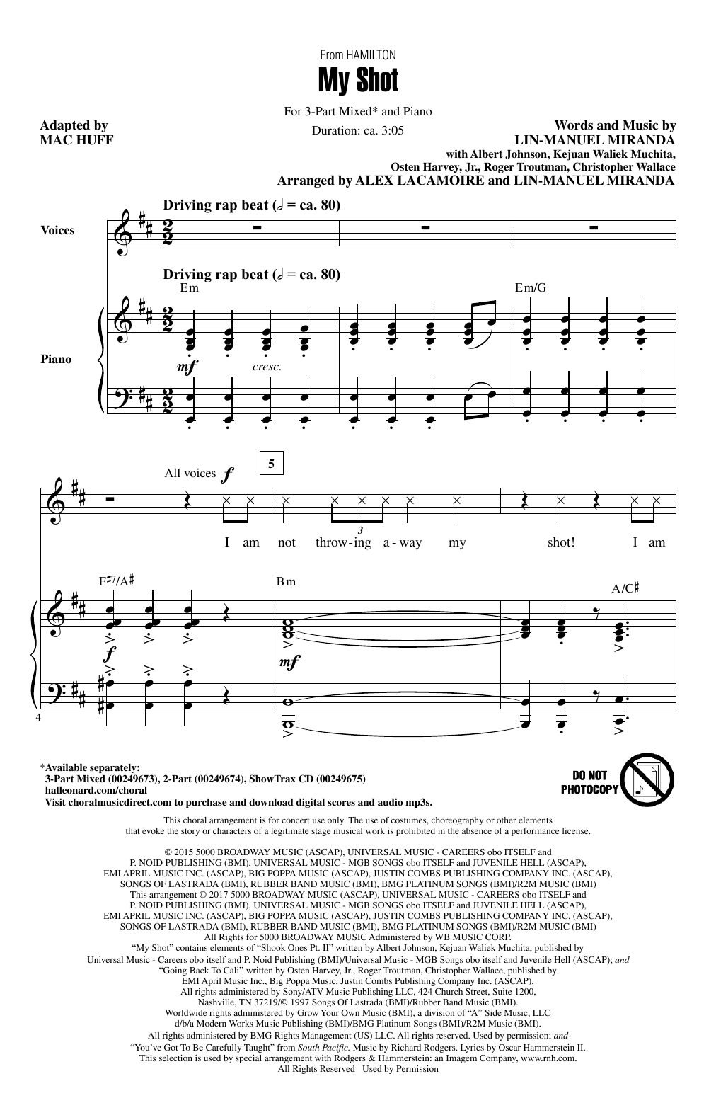 My Shot (from Hamilton) (arr. Mac Huff) Sheet Music
