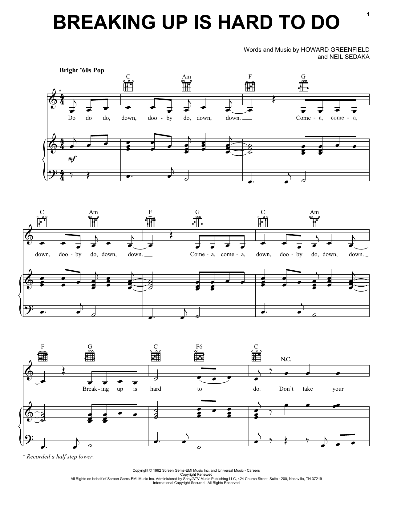 Breaking Up Is Hard To Do (Piano, Vocal & Guitar (Right-Hand Melody))