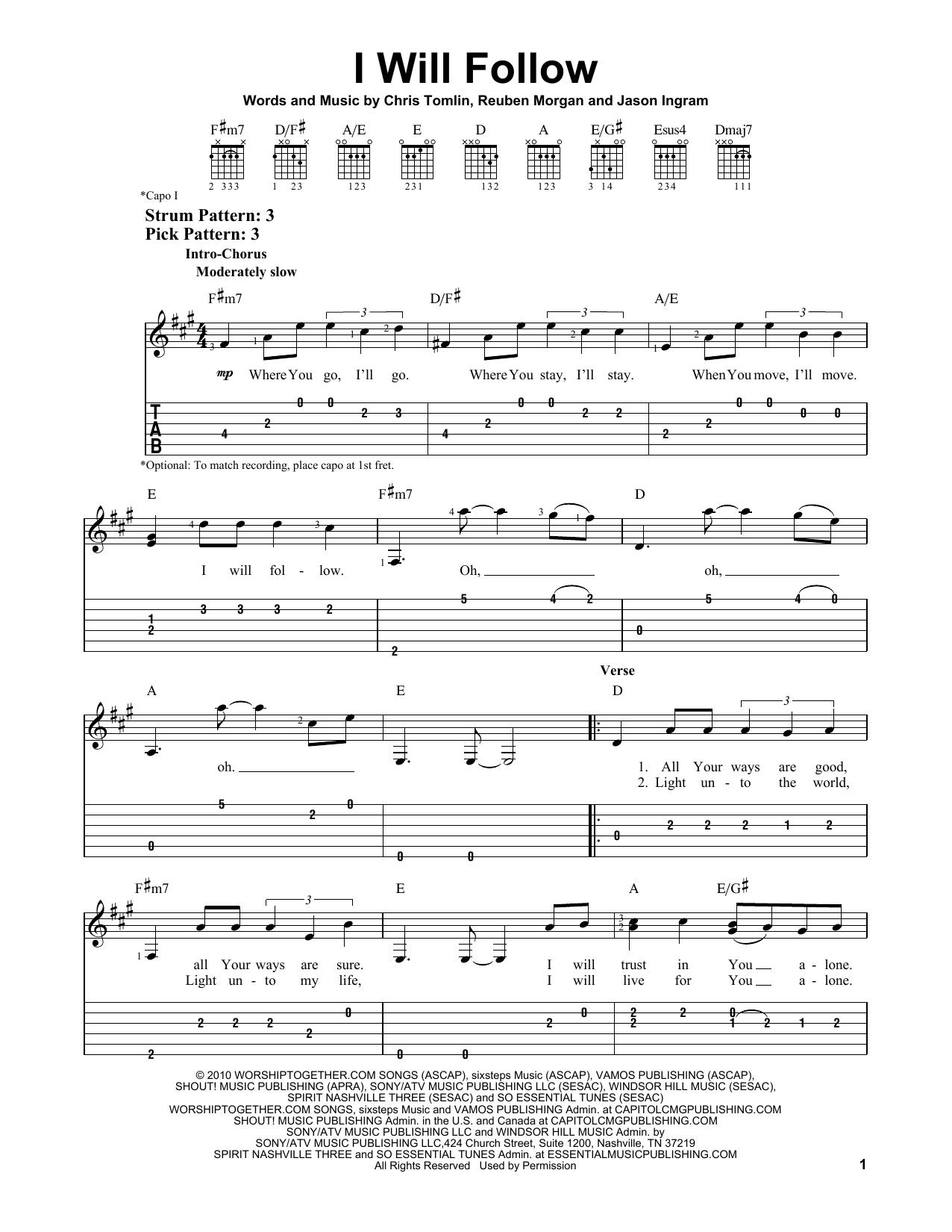I Will Follow (Easy Guitar Tab)