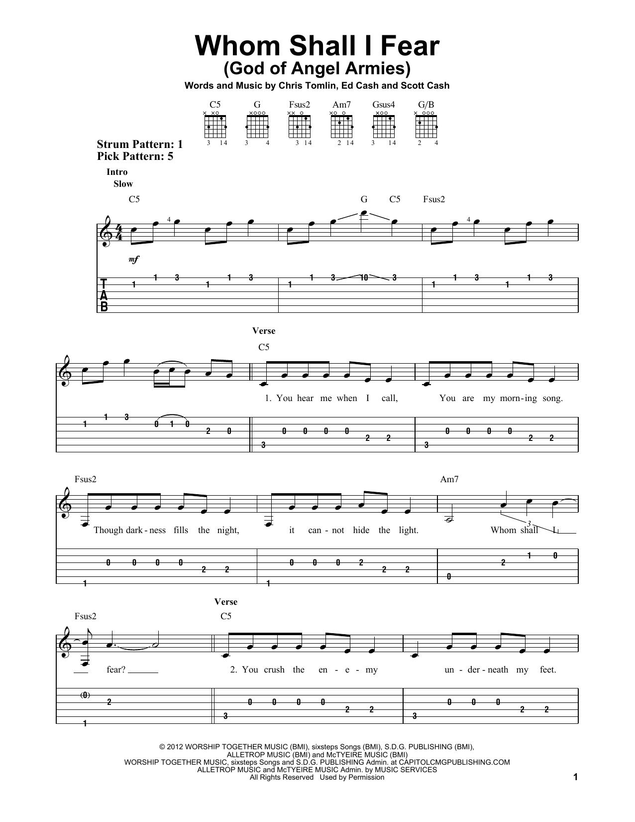 Whom Shall I Fear (God Of Angel Armies) (Easy Guitar Tab)