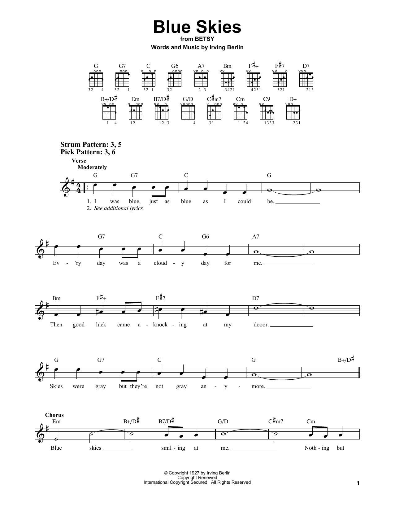 Blue Skies (Easy Guitar)