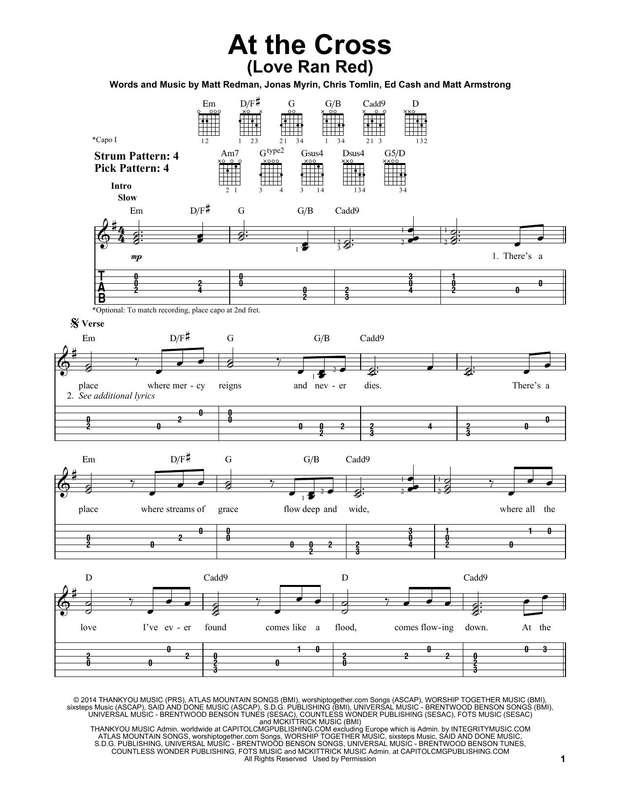 At The Cross (Love Ran Red) (Easy Guitar Tab)