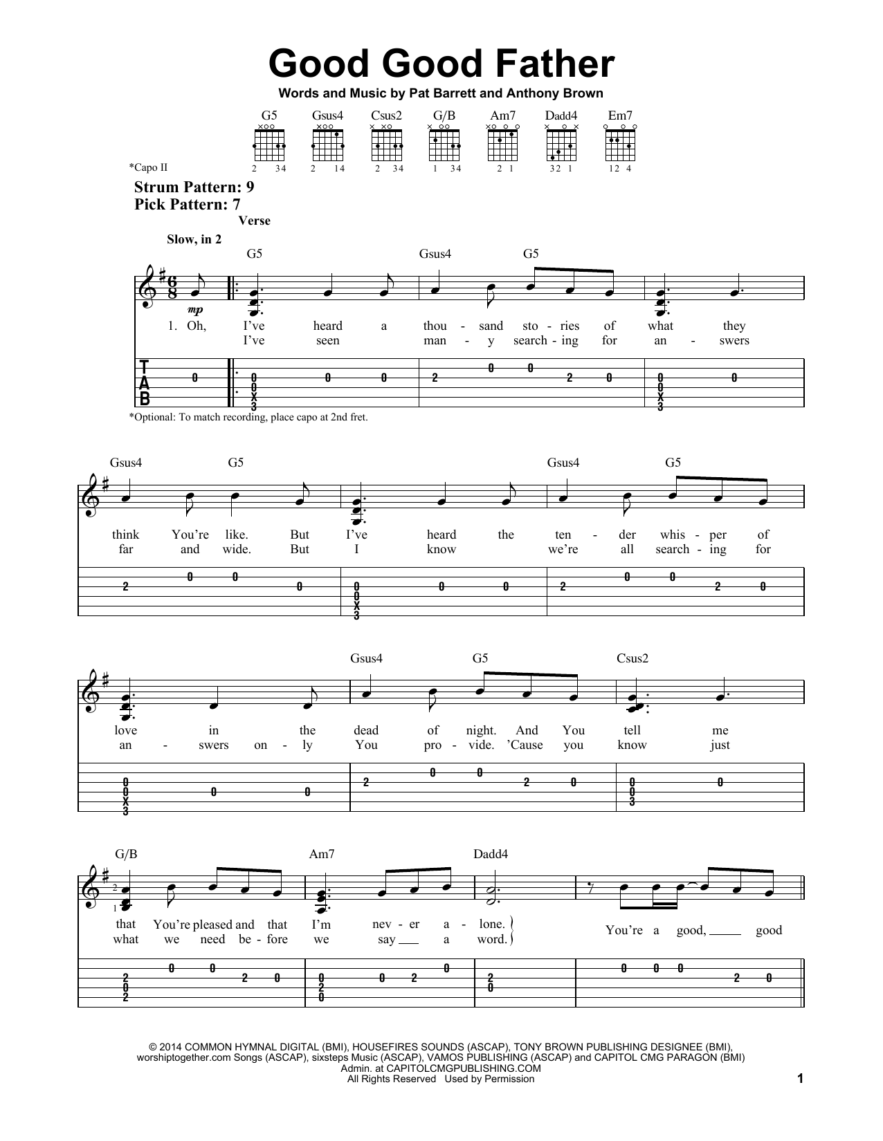 Good Good Father (Easy Guitar Tab)
