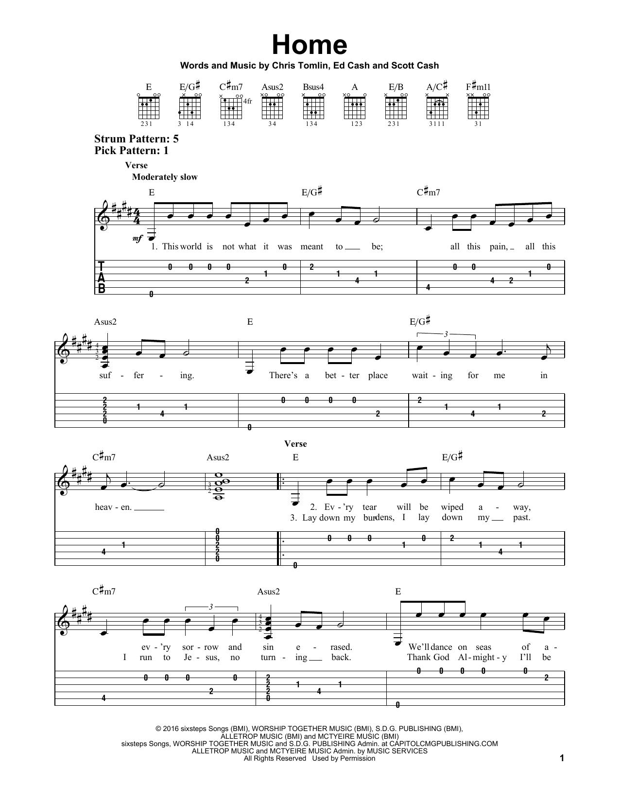 Home (Easy Guitar Tab) - Print Sheet Music Now