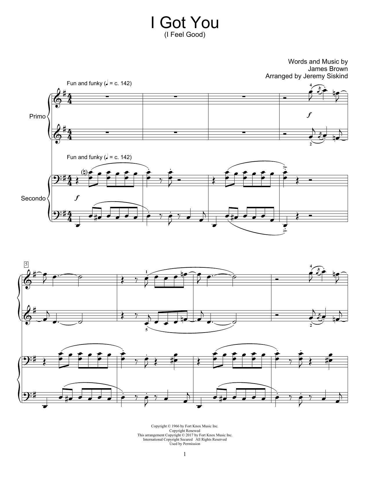 I Got You (I Feel Good) (Piano Duet)