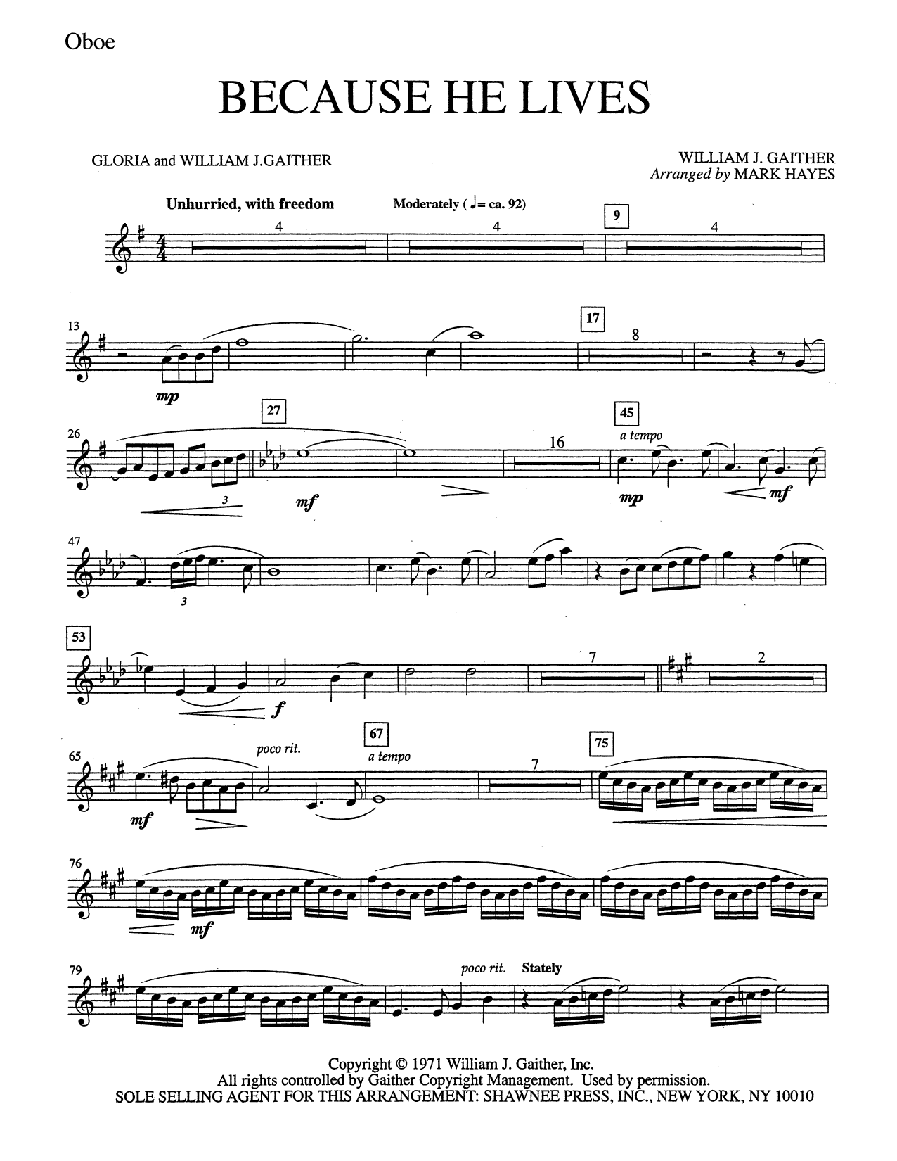 Because He Lives - Oboe (Choir Instrumental Pak)