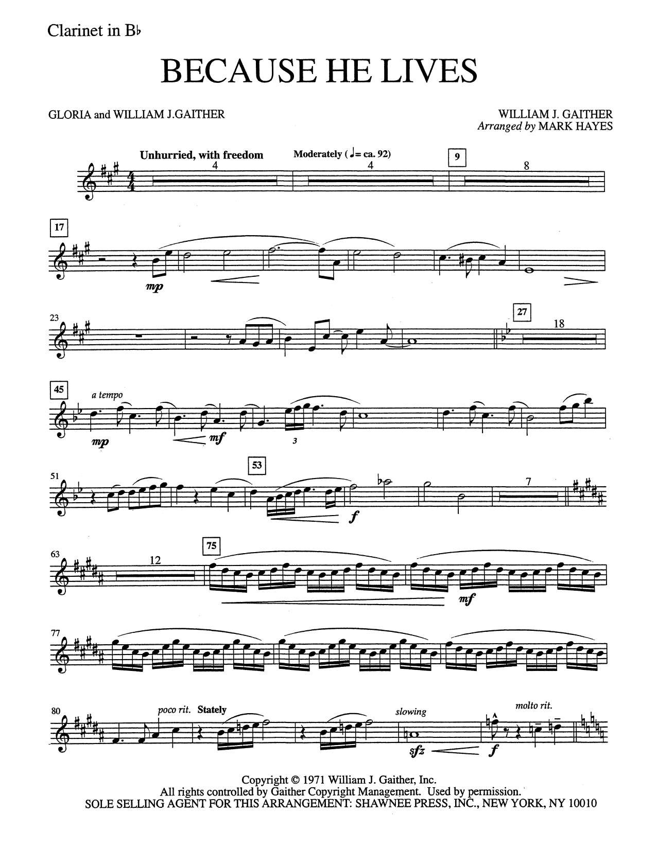 Because He Lives - Clarinet in Bb (Choir Instrumental Pak)
