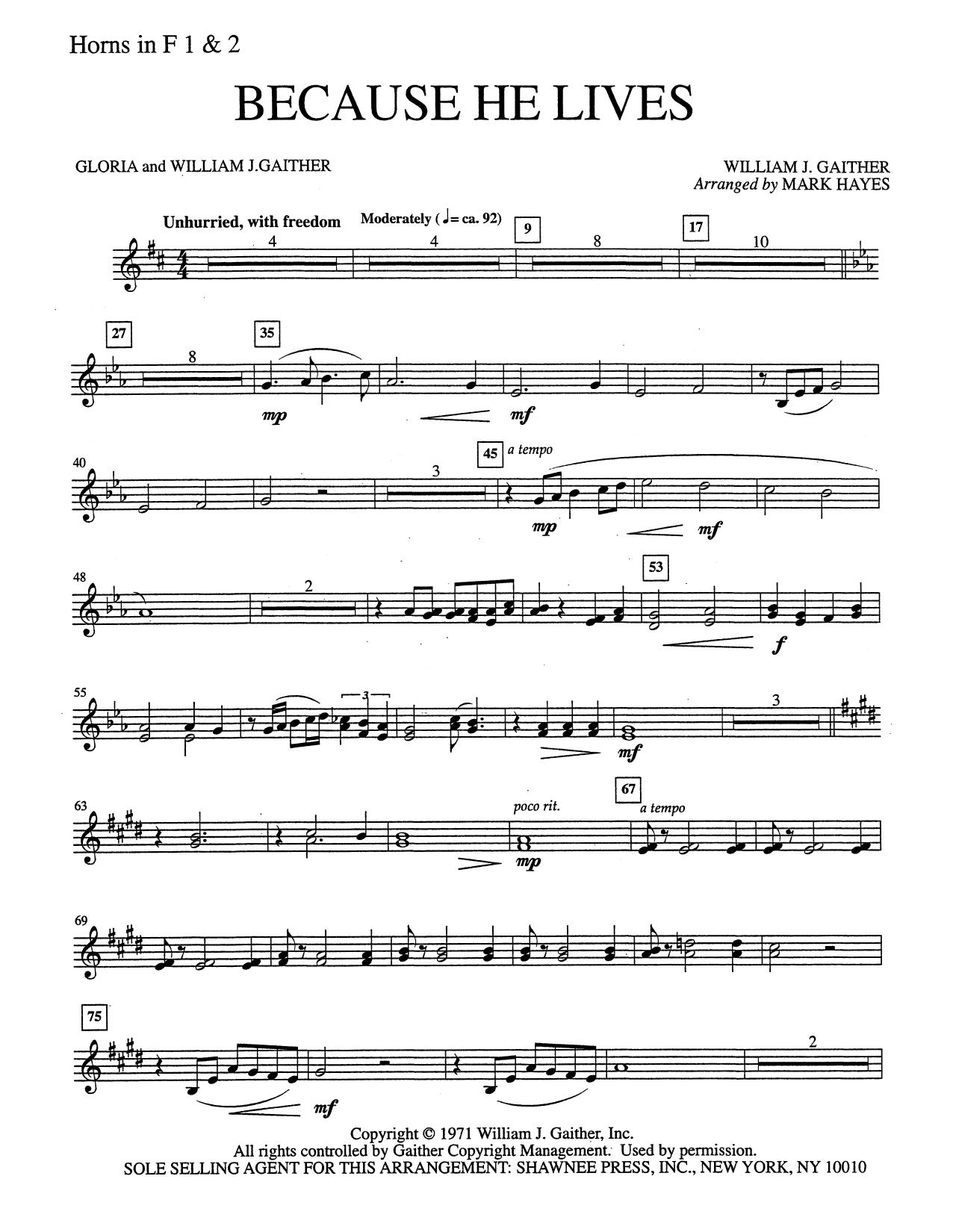 Because He Lives - F Horn 1 & 2 (Choir Instrumental Pak)