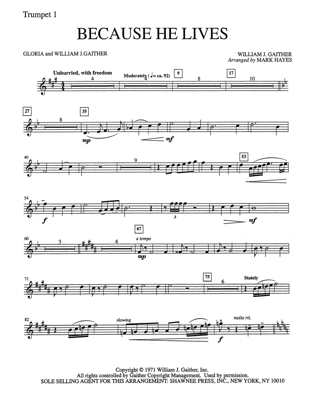Because He Lives - Trumpet 1 (Choir Instrumental Pak)