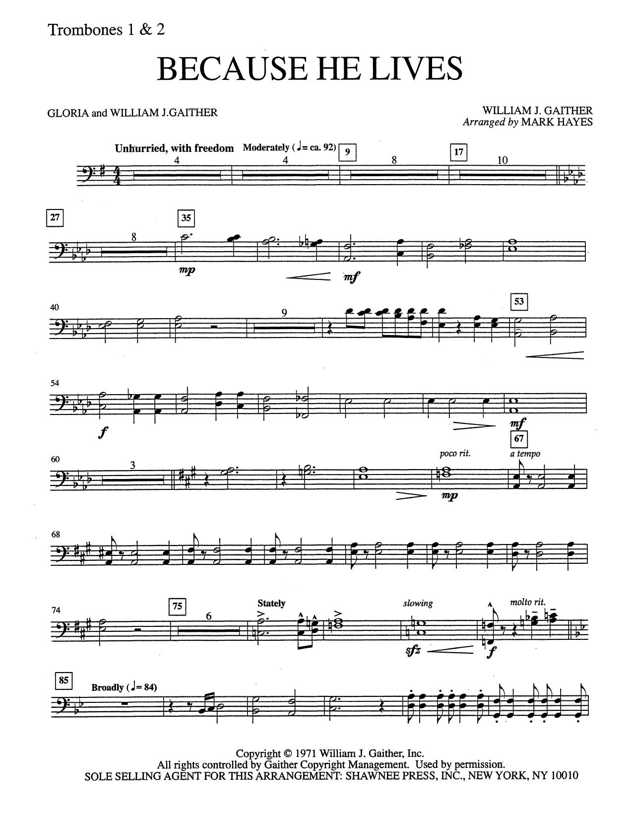 Because He Lives - Trombone 1 & 2 (Choir Instrumental Pak)