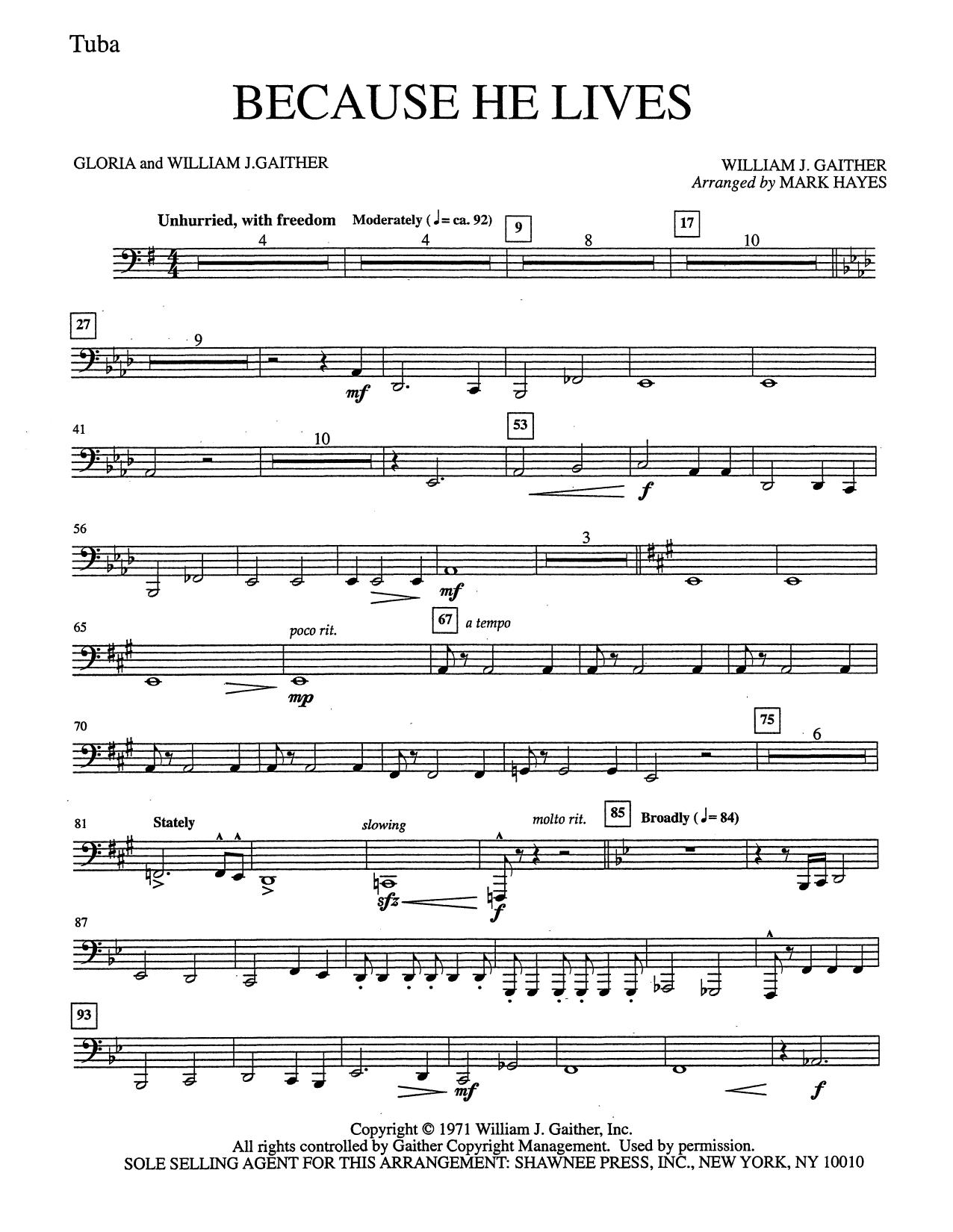 Because He Lives - Tuba (Choir Instrumental Pak)