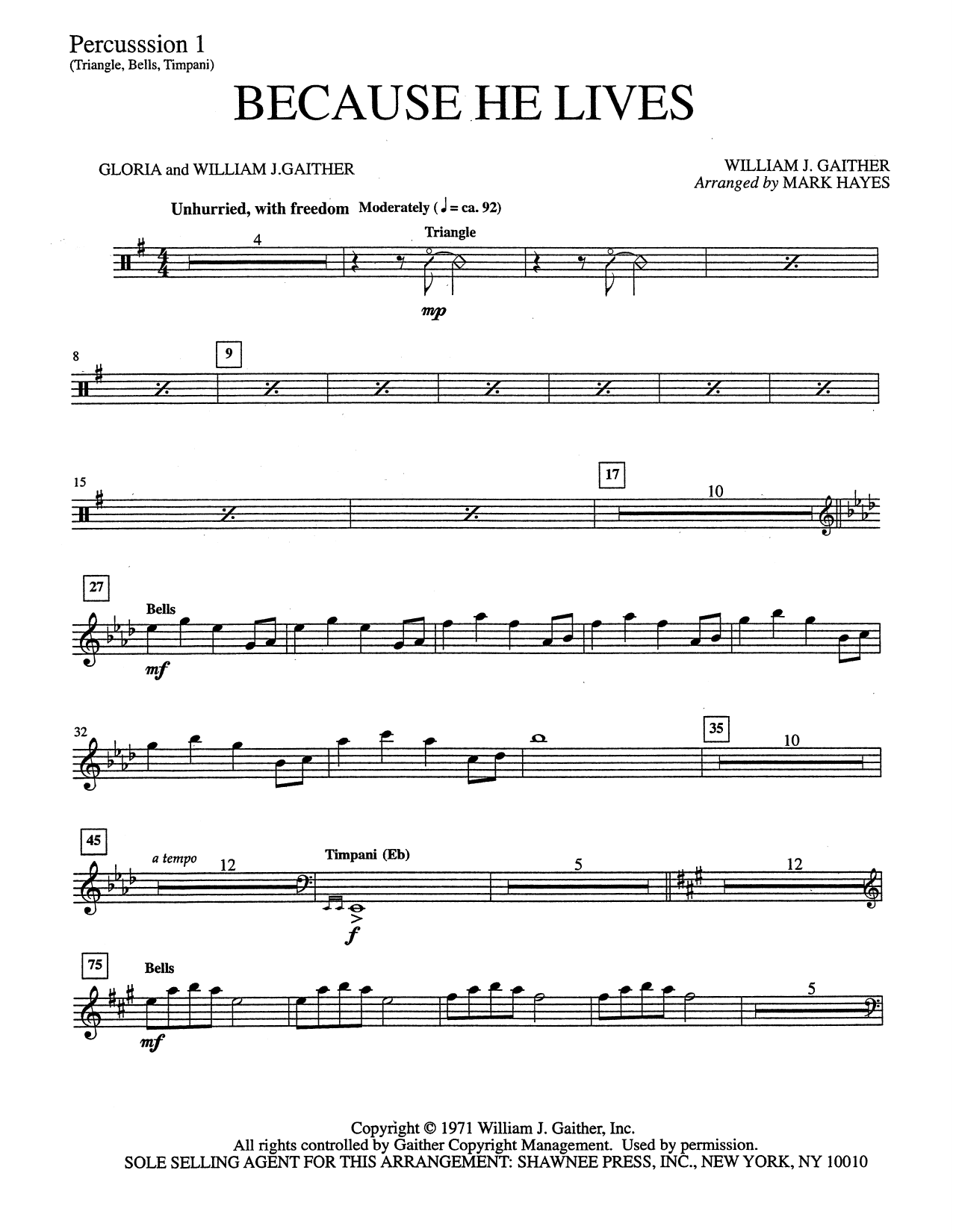 Because He Lives - Percussion 1 (Choir Instrumental Pak)