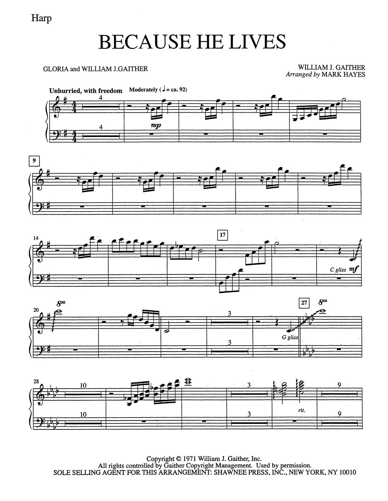 Because He Lives - Harp (Choir Instrumental Pak)