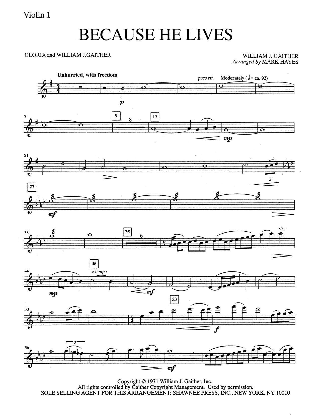 Because He Lives - Violin 1 (Choir Instrumental Pak)