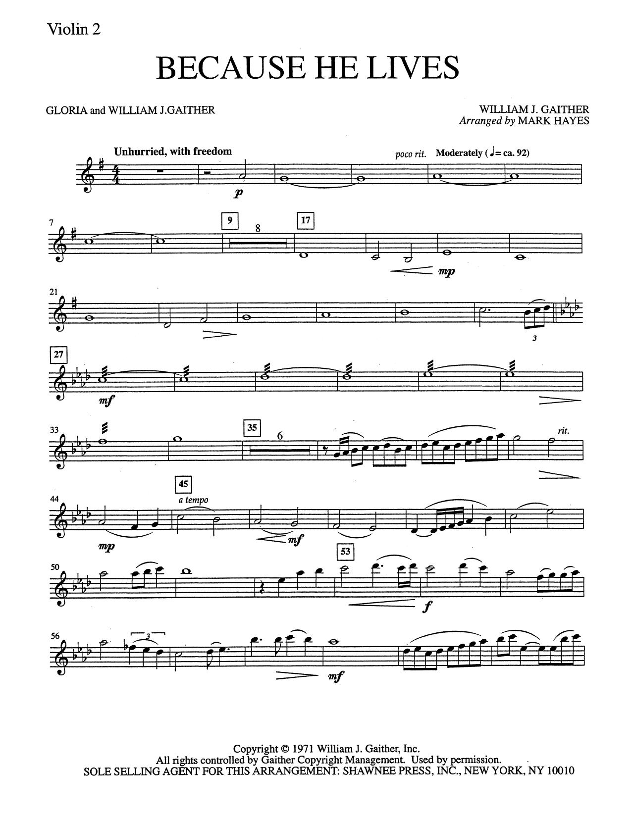 Because He Lives - Violin 2 (Choir Instrumental Pak)