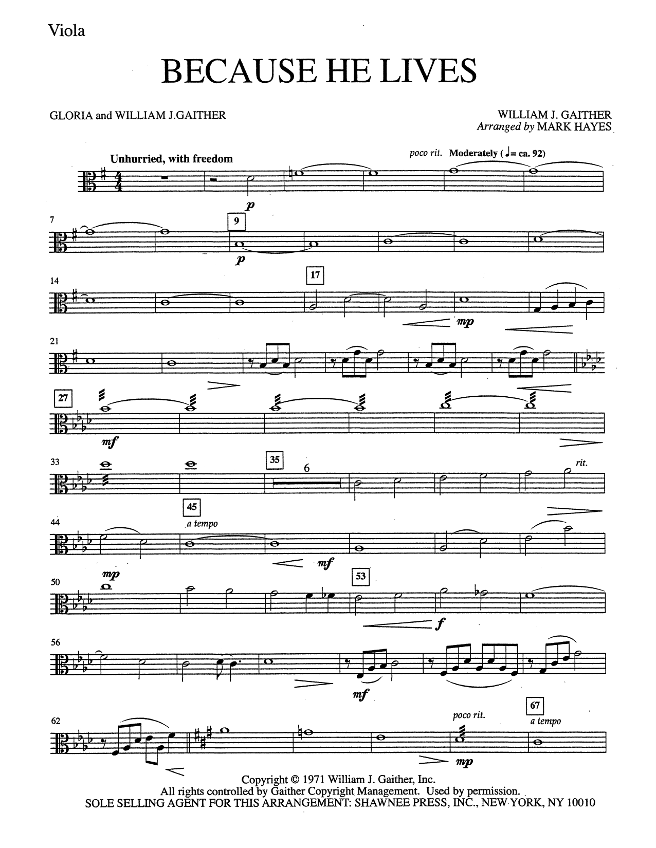 Because He Lives - Viola (Choir Instrumental Pak)