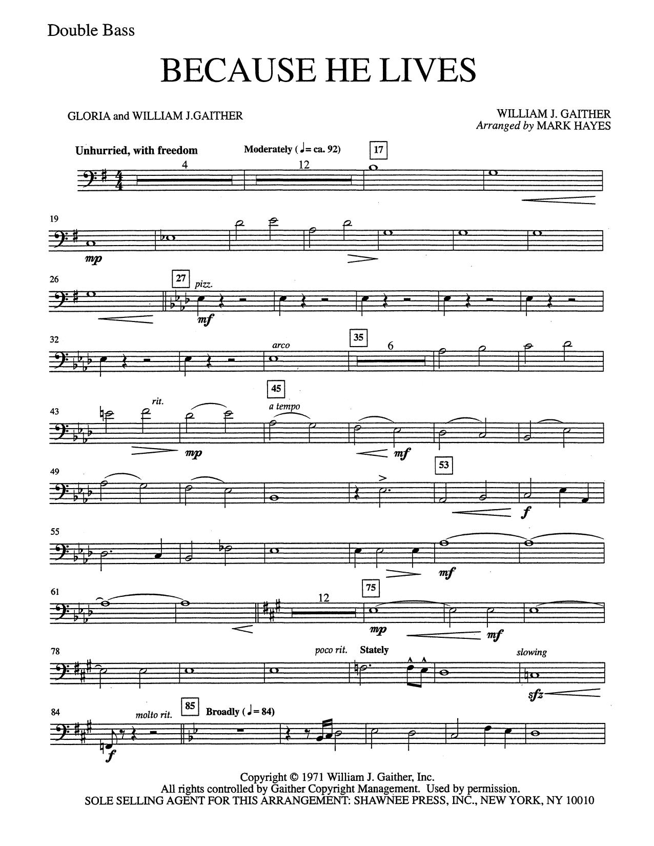 Because He Lives - Double Bass (Choir Instrumental Pak)