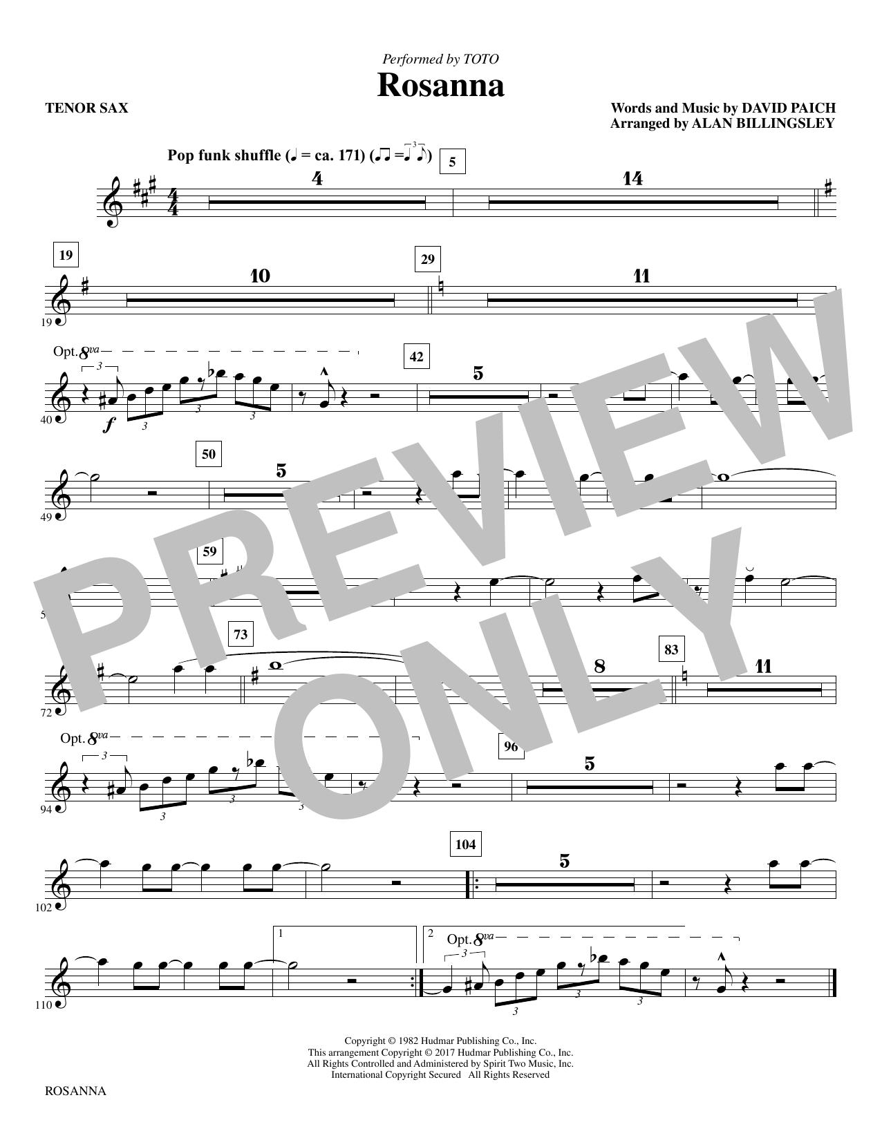 Rosanna - Tenor Saxophone (Choir Instrumental Pak)