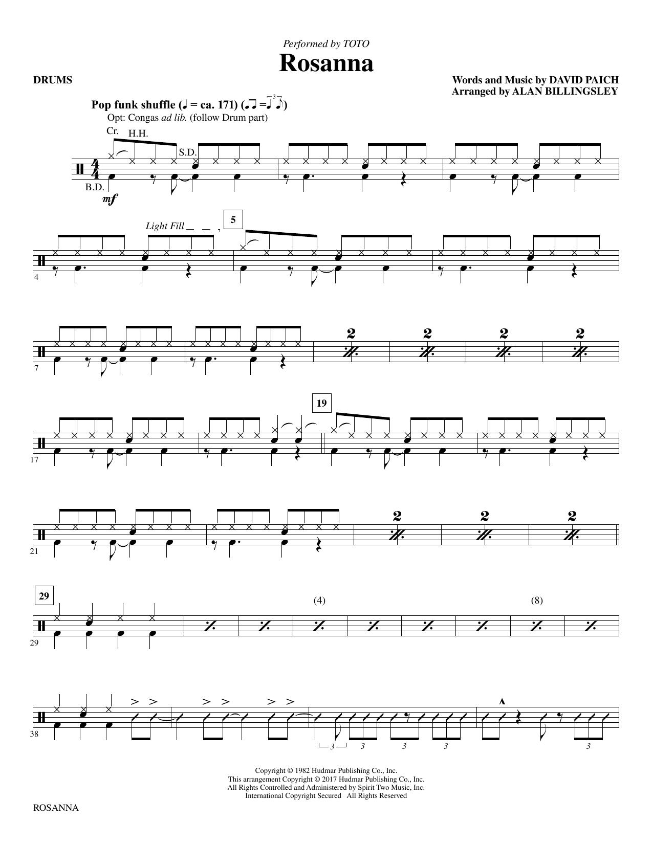 Rosanna - Drums (Choir Instrumental Pak)