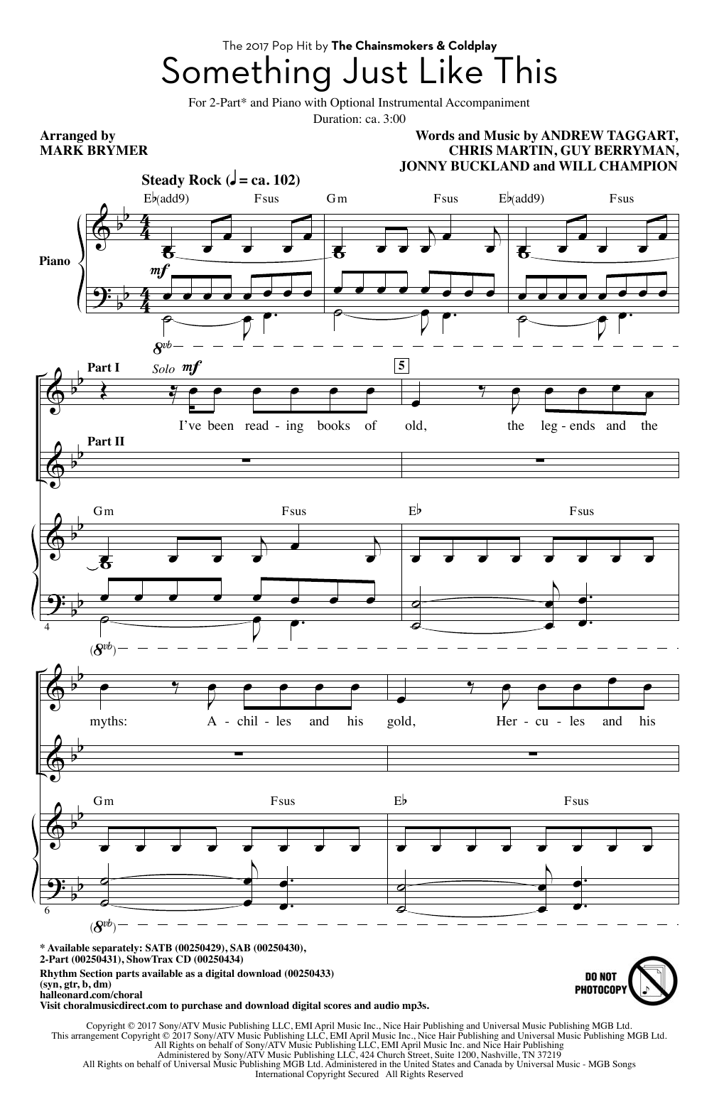 Something Just Like This Sheet Music