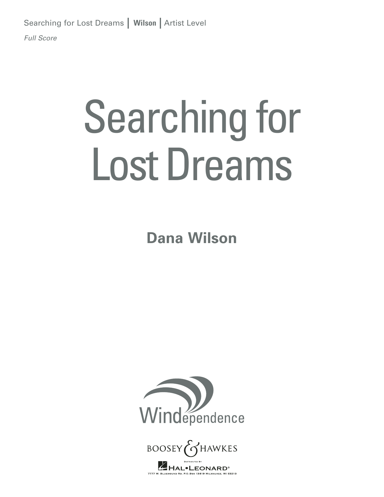 Searching for Lost Dreams - Conductor Score (Full Score) (Concert Band)
