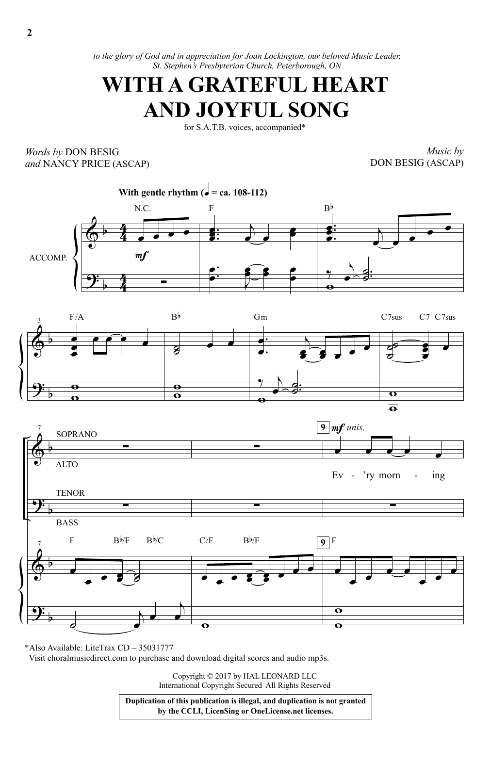 With A Grateful Heart And Joyful Song Sheet Music