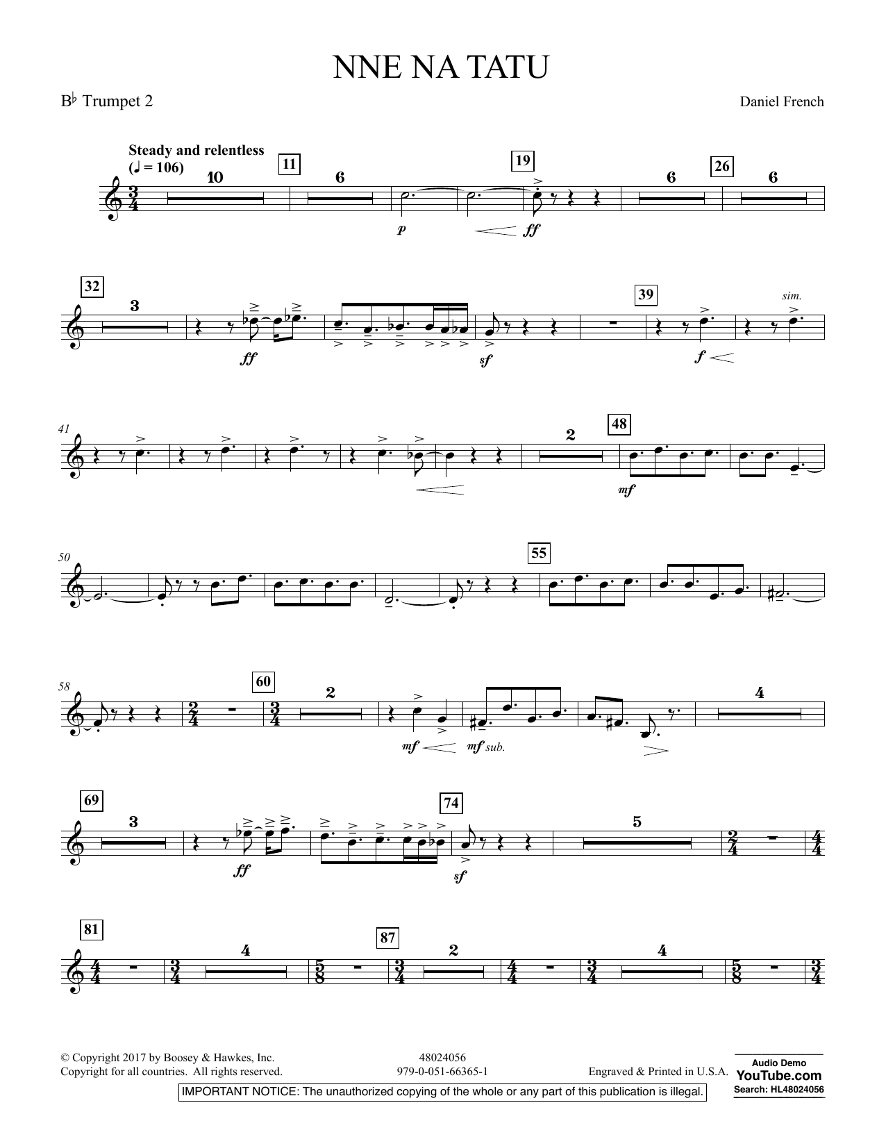 Nne Na Tatu - Bb Trumpet 2 (Concert Band)