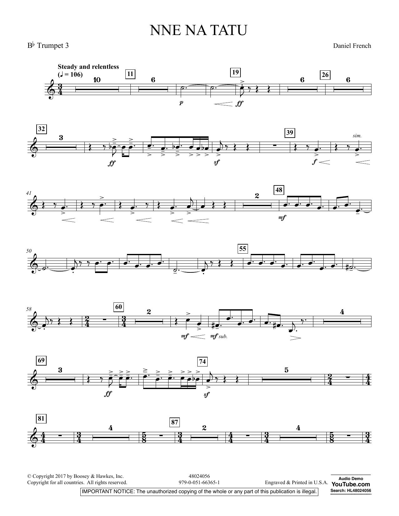Nne Na Tatu - Bb Trumpet 3 (Concert Band)