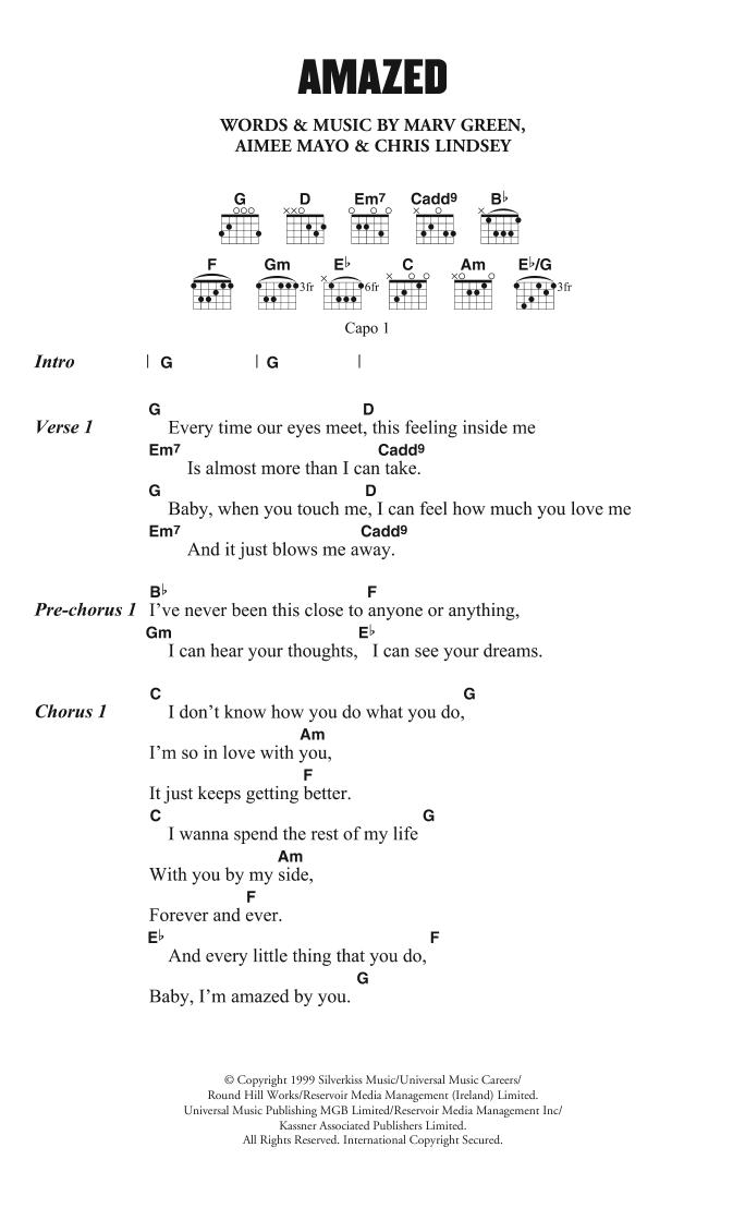 Amazed Sheet Music Lonestar Lyrics Chords