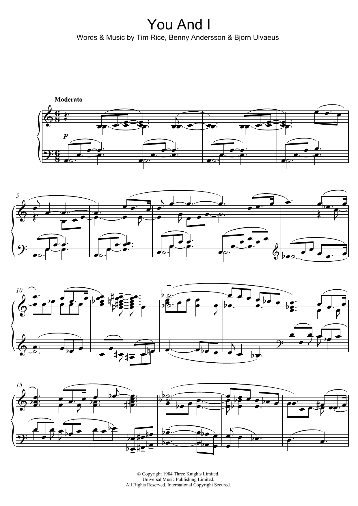 "You and I (from ""Chess"") Sheet Music"