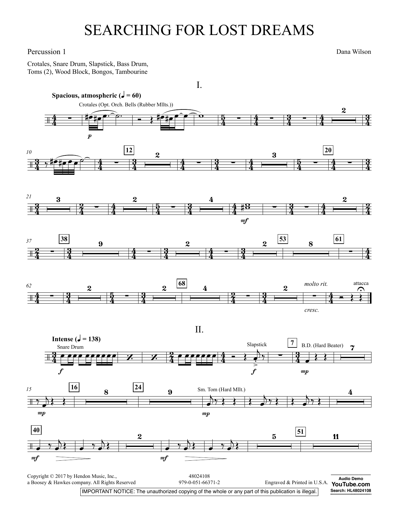 Searching for Lost Dreams - Percussion 1 (Concert Band)