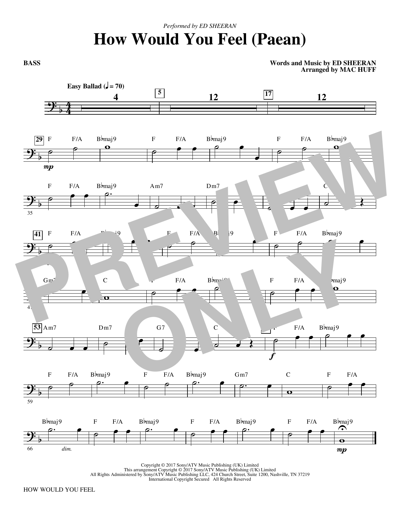 How Would You Feel (Paean) (arr. Mac Huff) - Bass (Choir Instrumental Pak)