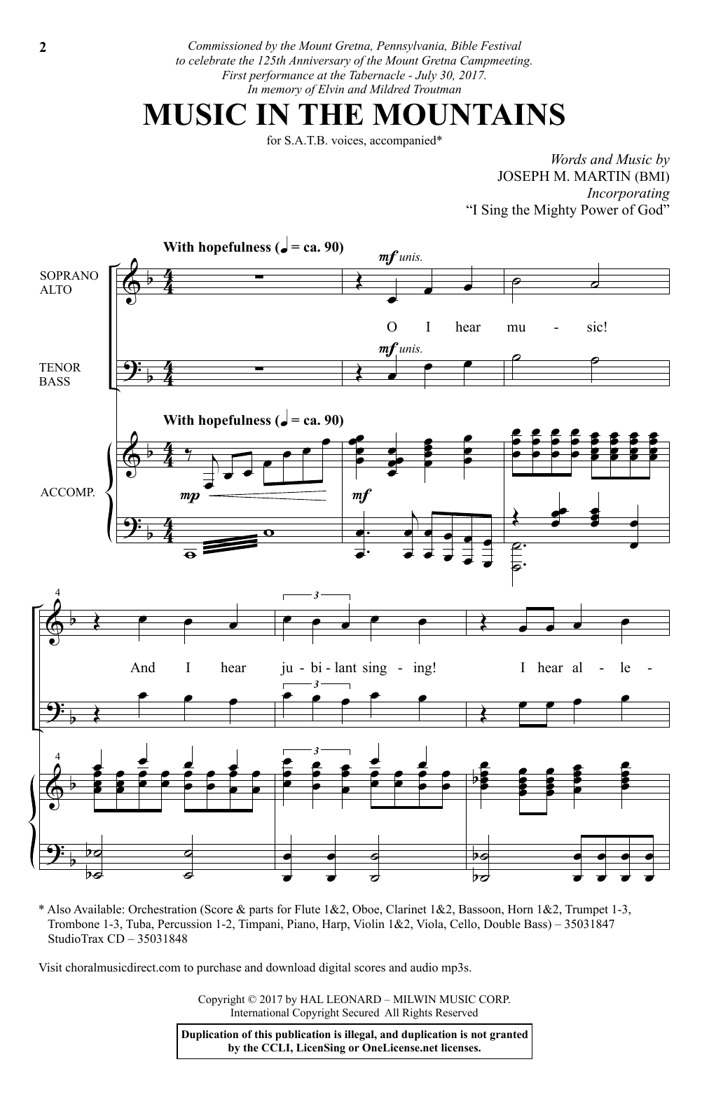 Music In The Mountains Sheet Music