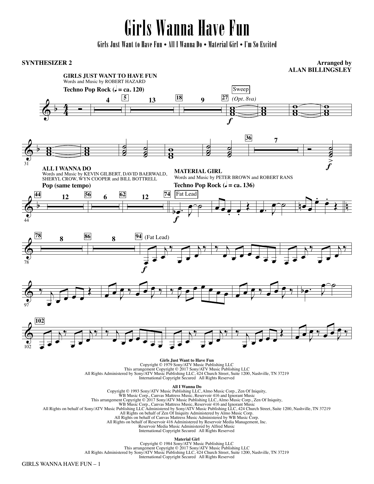 Girls Wanna Have Fun (Medley) - Synth 2 (Choir Instrumental Pak)