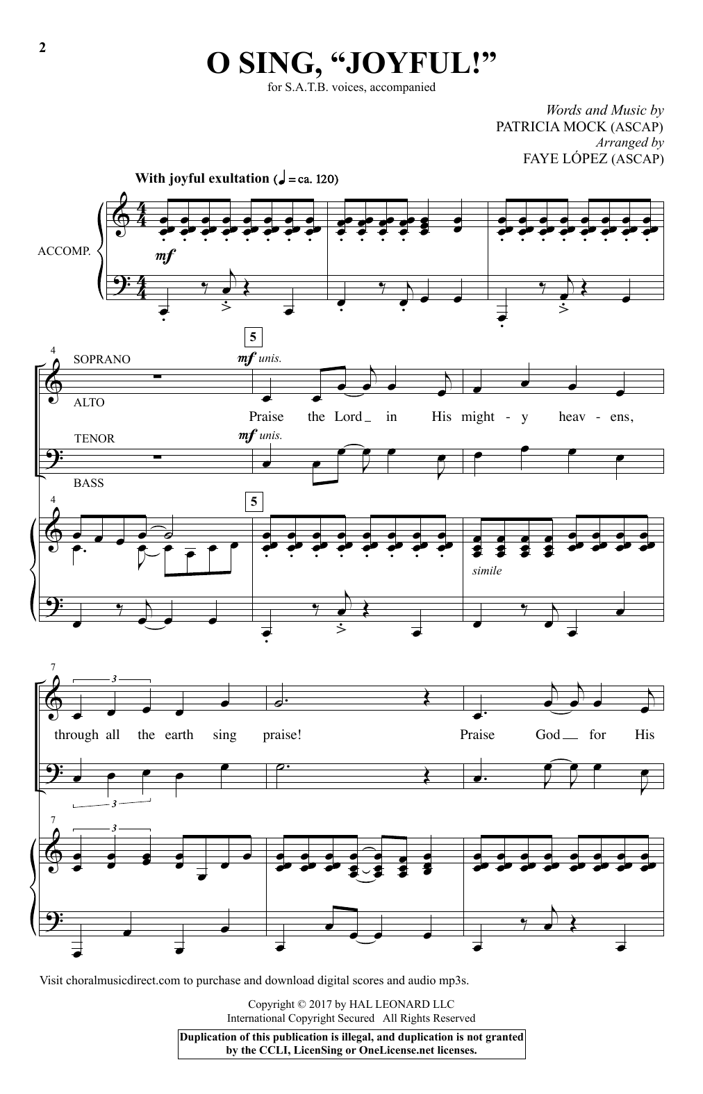"O Sing, ""Joyful!"" Sheet Music"