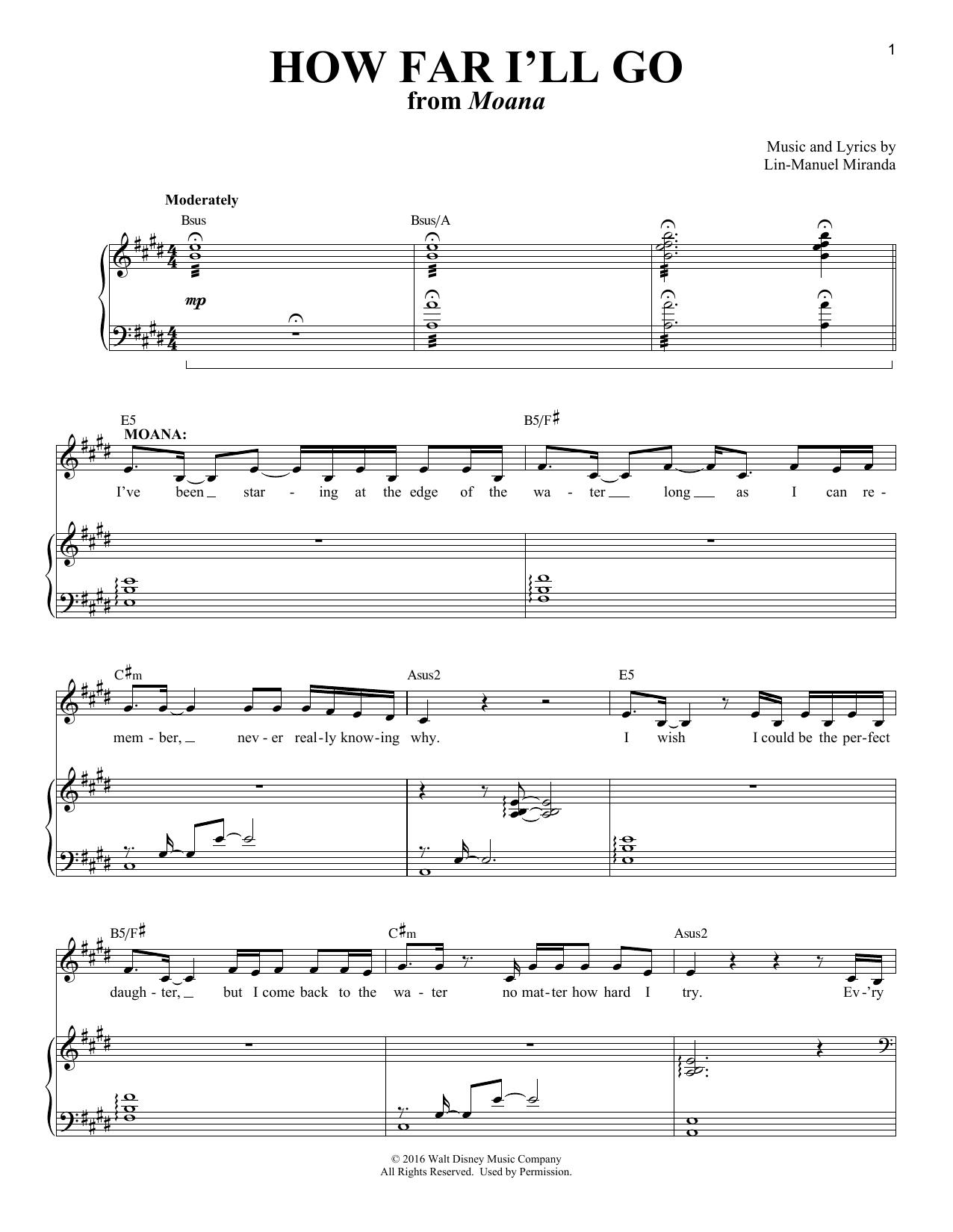 How Far I'll Go (from Moana) (Piano & Vocal)