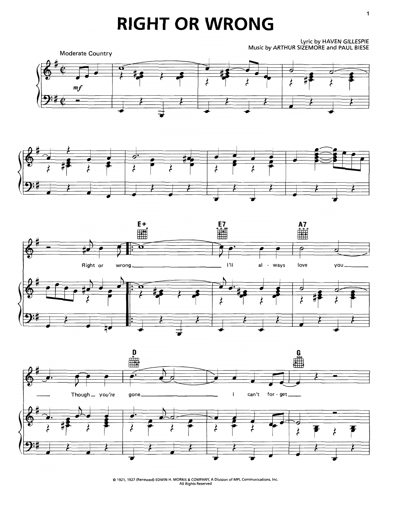 Right Or Wrong Sheet Music