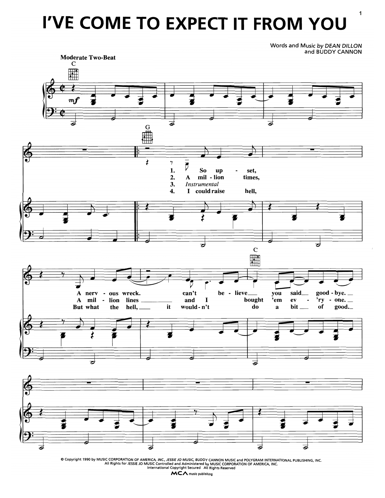 I've Come To Expect It From You (Piano, Vocal & Guitar (Right-Hand Melody))